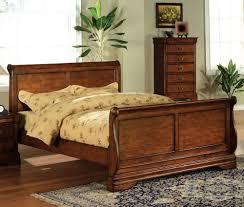 dark oak wood cal king sleigh bed by furniture of america