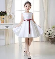 White Christmas Flower Girl Dresses 2016 Knee Length Bateau Beach