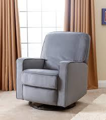 Fabric Swivel Chairs by Gliders U0026 Rockers Bella Grey Fabric Swivel Glider Recliner Chair