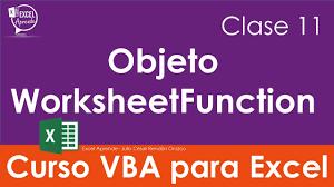curso vba para excel clase 11 objeto worksheetfunction youtube
