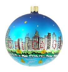 chicago lake michigan skyline glass ornaments