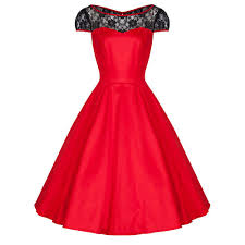 red cotton and black lace 50s swing dress pretty kitty fashion