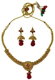 stone necklace set designs images Gold tone kundan stone 2pc necklace set designer wedding jewelry jpeg