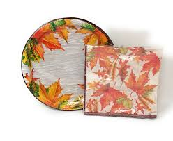 paper plates thanksgiving fall leaves paper plates and napkin sets fall home decor