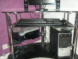 bureau informatique verre trempé bureau ordinateur en verre trempé noir occasion
