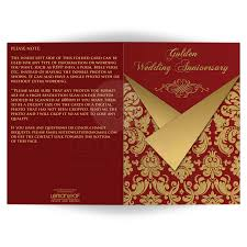 Wedding Invitation Card Verses Optional Photos 50th Wedding Anniversary Invitation Card Red