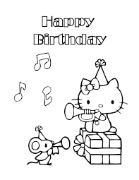 kitty birthday coloring pages slim image