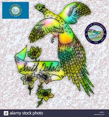 state bird of south dakota south dakota state bird flag coat stock vector art illustration