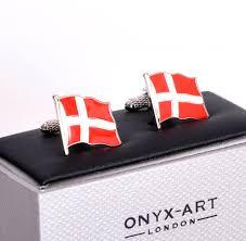 Flying Flag Cufflinks Denmark Flag Danish Flying Flag Pink Cat Shop