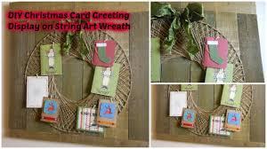 diy christmas card greeting display on string art wreath youtube