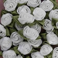 bulk satin ribbon large white satin ribbon roses with green leaf wholesale trade bulk