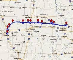 map of iowa towns lincoln highway tour