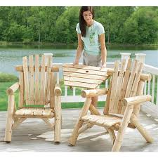Tete A Tete Garden Furniture by 3 Pc Cedar Log Adirondack Tete Te Tete 116446 Patio Furniture