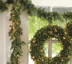 artificial boxwood wreath indoor outdoor lit boxwood garland pottery barn