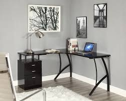 Black Corner Computer Desks For Home Chrome Lighting Ideas Above Black Corner Computer Desk Furniture