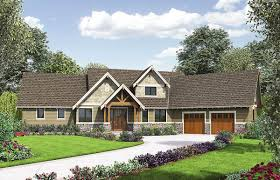 rugged craftsman with angled garage 69594am architectural