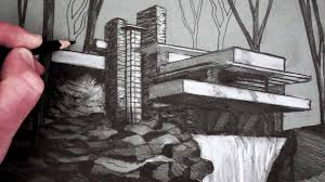 how to draw a house fallingwater youtube