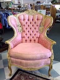 shabby chic pink french provincial style wingback parlor chair