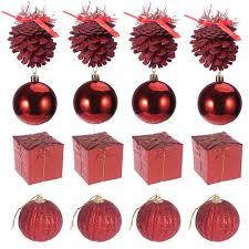 16pcs colorful mini glitter balls pinecones gift boxes tree