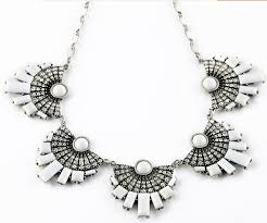 silver fashion statement necklace images Wholesale fashion clear rhinestone white fan shape statement jpg