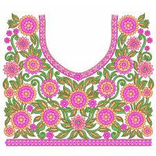 design embroidery pink choli neckline embroidery design