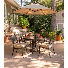 5 Piece Patio Dining Sets - traditions 5 piece dining set in tan with 48 in glass top table