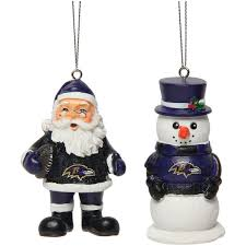 baltimore ravens nick and snowman 2 pack ornament set