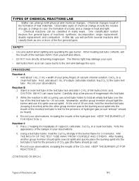 types of chemical reactions lab 9th 12th grade worksheet