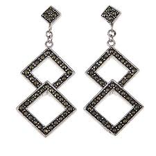 black dangle earrings black marcasite interlocking diamond shape dangle earrings