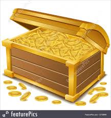 finance and currency treasure chest with coins stock