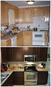 Staining Kitchen Cabinets Darker Before And After by Kitchen Furniture Oak Cabinets Kitchen Dark Pictures Colors With