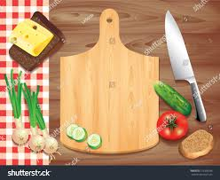 Wooden Table Background Vector Cutting Board On Wooden Table Food Stock Vector 153338036