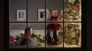 Christmas Window Video Decoration by Mother And Children Celebrate Christmas Look Through A Window At