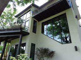 Houses With Big Windows Decor Luxurious Modern House Design Idea With White Wall And Large Glass