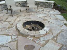 flagstone patio fond du lac fagstone with sunken fire pit on