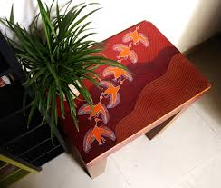 wooden coffee table hand painted furniture bohemian red