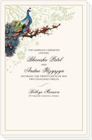 Peacock Wedding Programs Wedding Programs And Program Wording Templates By Culture