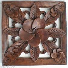 frangipani flower wood carved wall hanging bali balinese