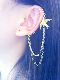 earrings with chain ear cartilage stylish flying bird gold and brass ear cuff chain earrings