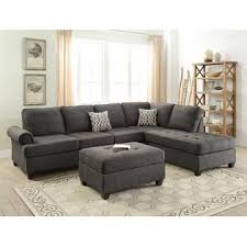 Sectional Sofa Pillows Esofastore Living Room Furniture Ash Black Dorris Fabric 2pc
