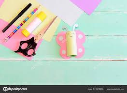 pretty paper butterfly crafts scissors marker glue stick