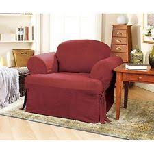 sure fit soft suede wing chair t cushion slipcover 170326256d