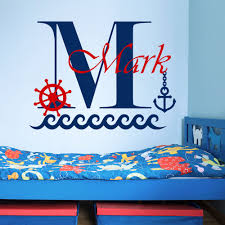 online get cheap boat wall murals aliexpress com alibaba group removable custom name boys room wall decal boat anchor sea wall sticker kids nursery room personalized name wall murals y 72
