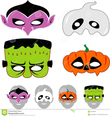 kids halloween clip art kids halloween masks set stock vector image 56756634