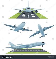 set planes different views runway vector stock vector 644239189