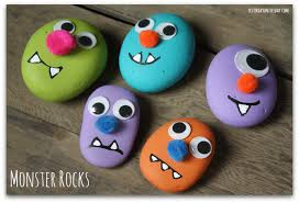 Halloween Craft Kids - monster rocks featured in kids crafts 1 2 3 yesterday on tuesday