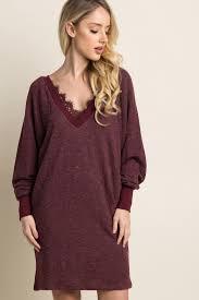 maroon sweater dress burgundy lace trim sweater dress