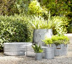 Bathtub Planter Eclectic Galvanized Metal Planters Pottery Barn