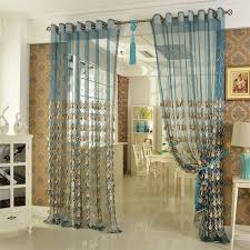 Sheer Teal Curtains Embroidery Craftsmanship Teal Sheer Curtain
