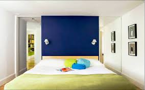 Blue Accent Wall Bedroom by Artistic Small Bedroom Interior Design Come With Royal Blue